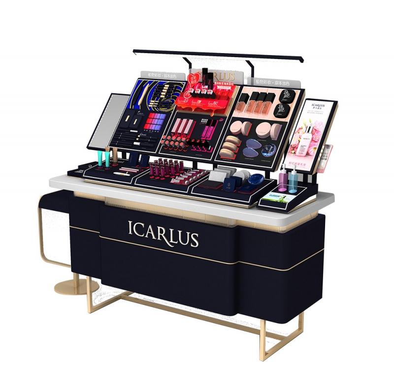 高档化妆品展示柜设计色彩的饱和度对商户的影响