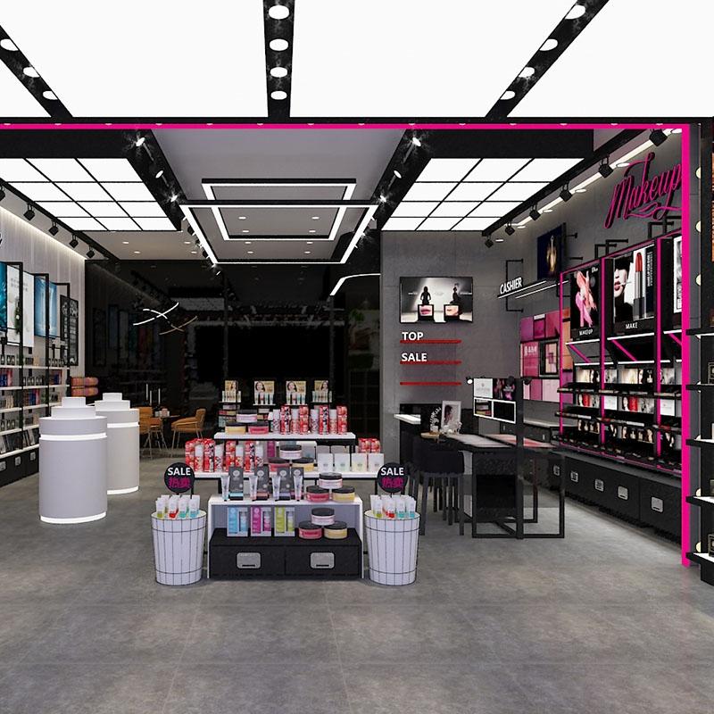 高端化妆品展示柜设计色彩饱和度对商家的影响